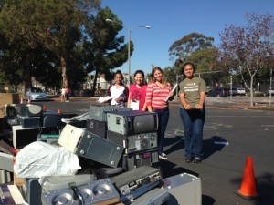 Piles of Electronic Waste at Wilson High Shred & e-waste Fall 2013 Event