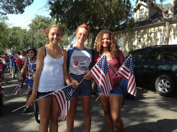 Young Girls with Flags at the Promenade