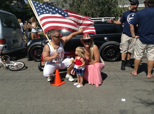 Family with a flag