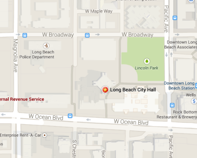 Map of City Hall Location in Long Beach