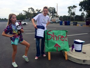 Collecting Donations at Gant Shred